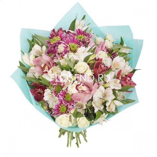 Букет с орхидеями и другими цветами - фото 2