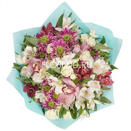 Букет с орхидеями и другими цветами - фото 3