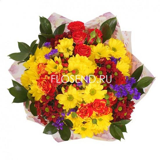 Букет с хризантемами и другими цветами - фото 4