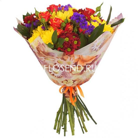 Букет с хризантемами и другими цветами - фото 3