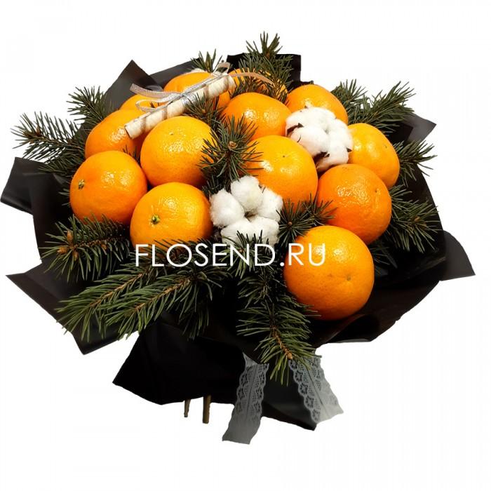 Букет из апельсинов и хлопка