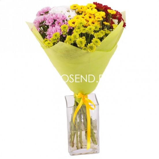 Букет из 15 кустовых хризантем - фото 2